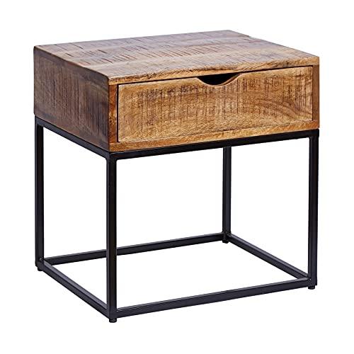 Invicta Interior Industrial Nachttisch Iron Craft 45cm Mangoholz mit Schublade Beistelltisch Tisch Holztisch