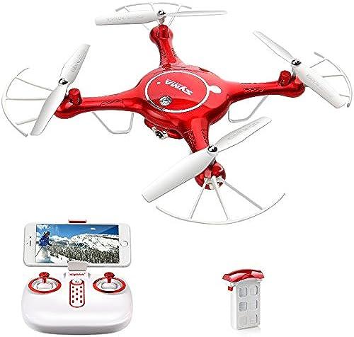 Quadcopter mit HD Kamera Syma X5UW FPV Wifi RC Drohne Live Video Handy App Ferngesteuert Steuerung Drone für Kinder(Rot)
