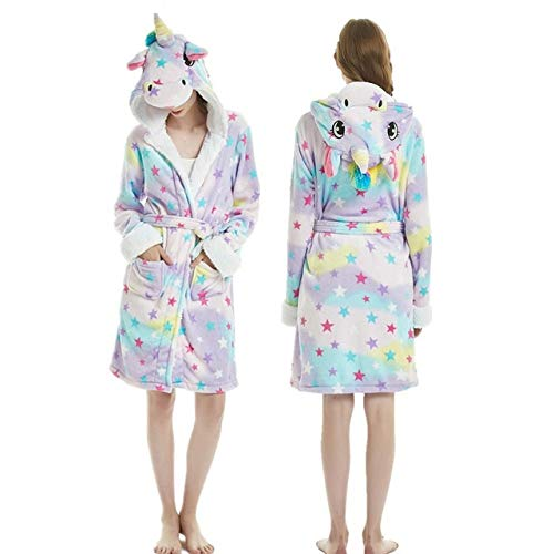 Damen Bademantel,Damen Fleece Hoodie Kleider Bademantel Bunte Stern Einhorn Muster...