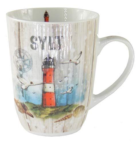 osters muschel-sammler-shop Kaffeebecher Weiss mit Sylter Leuchtturm/Teebecher/Weiss-bunt/Syltmotiv/Motiv Sylt/Sylter Becher/Strandtasse-Becher/Sylt - Geschenk-Artikel
