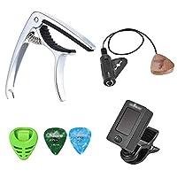 ギターカポタスト カポクリップオンチューナーピックアップギターピックホルダー付きギターアクセサリーキット2ピースピック収納ボックス