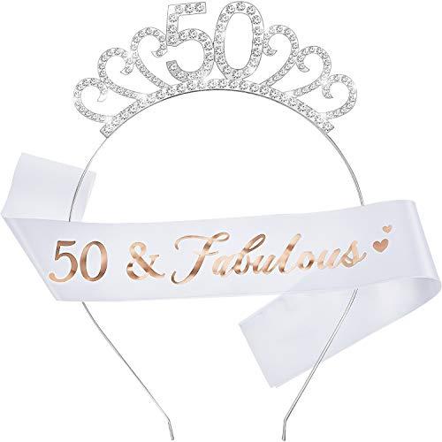 WILLBOND Alles Gute zum Geburtstag Kostüm Set,inklusiv Kristall Tiara Geburtstag Krone und Schärpe für Geburtstag Gefälligkeiten(50 Jahre Alt Stil)