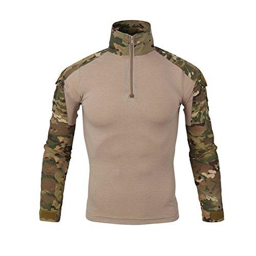 Lanbaosi Kampf-Hemd, militärisch, für Herren, Airsoft, Shirt, Camouflage-Outfit, Unform, Taktik, schnelltrocknend, mit Ärmeln, wasserdicht L MC