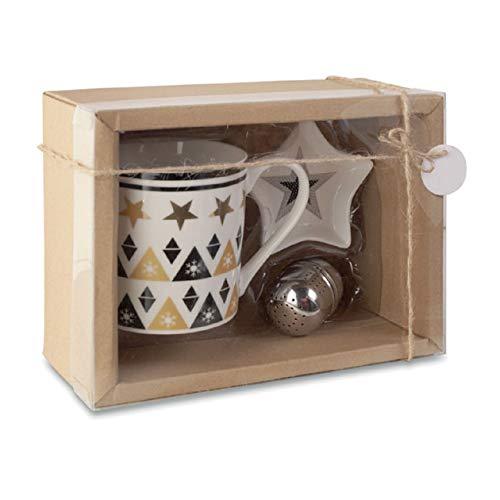noTrash2003 Taza de té con decoración navideña de cerámica con infusor y platillo en caja de regalo