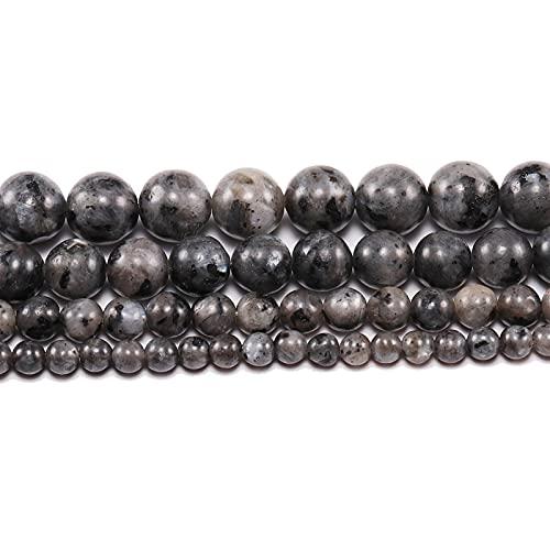 Multifunción 1STRAND / LOT 4 6 8 10 12 MM Spectrolito negro perlas de piedra natural Piedra labradorita Redonda de las perlas espaciadoras sueltas para la fabricación de joyas para manualidades de bri