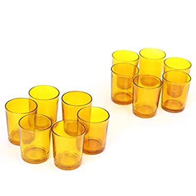 Hosley Set of 12 Amber Glass LED Votive Candle Tea Light Holders. Ideal for Weddings Parties Spa and Aromatherapy. Great Value. Use LED Tea Lights and Votive's. O9