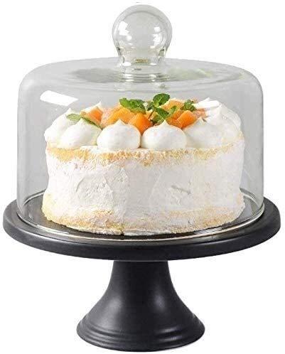 frutero fruteros de cocina Juego de soporte de pastel de cerámica de 8 pulgadas, cúpula de vidrio domo de la fruta de la fruta de la casa de los bocadillos de la cubierta de la preservación de la cubi