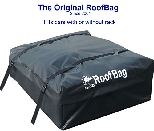 RoofBag Rooftop Cargo Carrier, Made in USA, 11 Cubic Feet, 2 Year Warranty. Car Top Carriers for Vehicles with Racks or Without Racks. Includes Roof Protective Mat