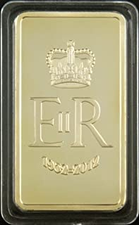 The 1 Oz .999 Pure 24 Karat Gold Layered Steel Bar the Queen's Diamond Jubilee Eliabeth II - Grace Specialty 016