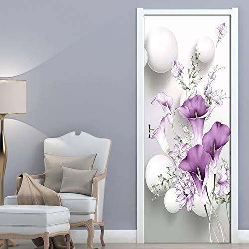 Autoadhesivo 3D RemovableWallDoor Sticker Fresh Purple Calla Wallpaper Living Room Door Decor Decals DIY A1 77x200cm