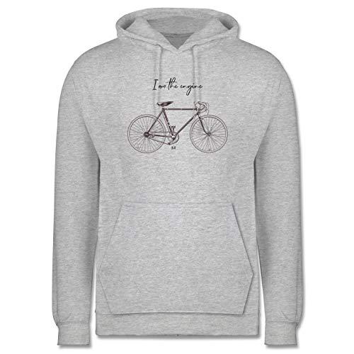 Shirtracer Radsport - I am The Engine - XL - Grau meliert - Statement - JH001 - Herren Hoodie und Kapuzenpullover für Männer