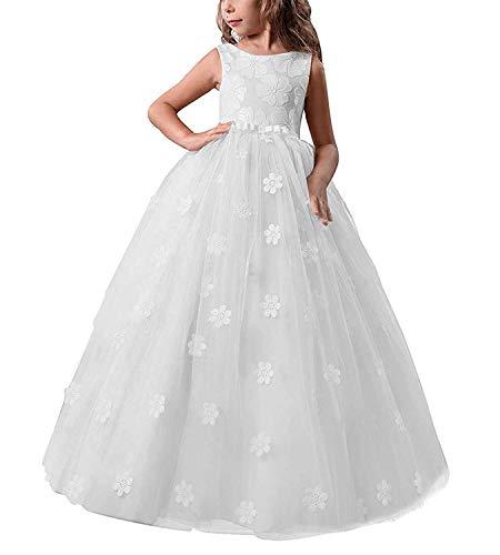 TTYAOVO Niñas Muestran Princesa Vestido de Flores Baile Puffy de Vestido de Niñas Flor Partido Vestido De Princesa Cumpleaños Vestidos