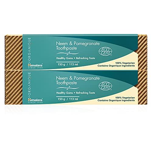 Himalaya Herbals Pasta de Dientes de Neem y Granada, Natural, Sin Fluoruro, Sacarina y SLS, Certificado Orgánico por Ecocert, 150g (SAVER PACK - Pack of 2)