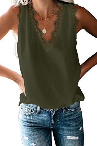 FIYOTE Camiseta de tirantes para mujer, sin mangas, tallas S-XXL, color S-XXL 1 verde XL