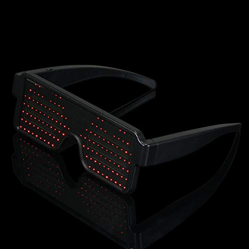 Lixada LED Glasses Party Rechargeable Toy Glasses with Multiple Animation Modes Work for 8 Hours for Holiday Party KTV DJ...