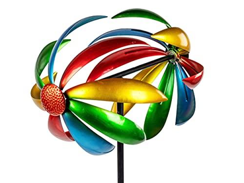 Lifestyle & More Windrad Windspiel als Gartenstecker aus Metall blau orange rot gelb mit Einer Länge von 168 cm Durchmesser 36 cm
