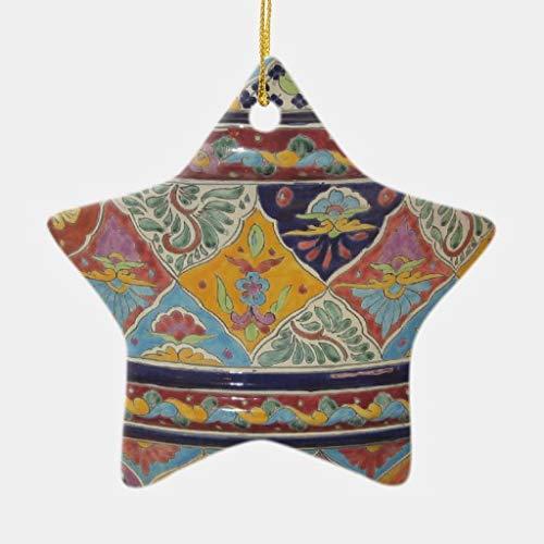 VinMea Xmas Decorative Hanging Ornament for Christmas Tree Mexican Talavera Style Pottery Heart Holiday Christmas Ceramic Ornament