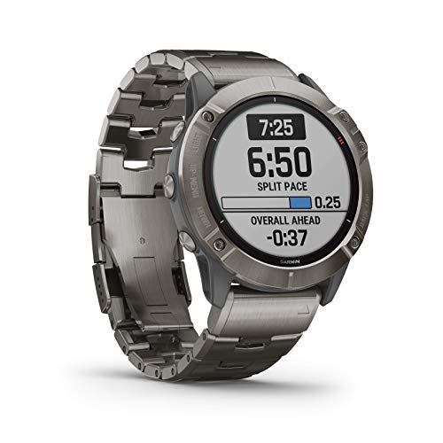Garmin Fenix 6X Premium Multisport GPS Watches with Pulse OX, Routable Maps and Music with Included Wearable4U Power Pack Bundle (PRO Solar, Titanium with Vented Titanium Bracelet) 2