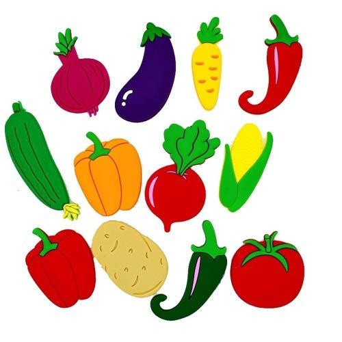Huixindd 10 unids/Muchos 3D Dibujos Animados refrigerador Coche con imanes para niños imanes para refrigerador para decoración Familiar Niños Juguetes Regalos de niño (Cor : 10Pcs Vegetables)