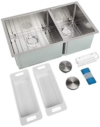 Big Save! ZUHNE 32-Inch Double Bowl Undermount Deep Kitchen Sink 16 Gauge Stainless Steel (60/40)