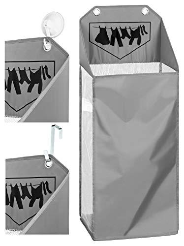 TOPP4u hängender Wäschekorb für Badezimmer, grau, platzsparender Kleiner Wäschesammler für 40 Ltr / 4 kg Wäsche, 32x21x58 +21 cm, mit 2 Türhaken + 2 Saughaken