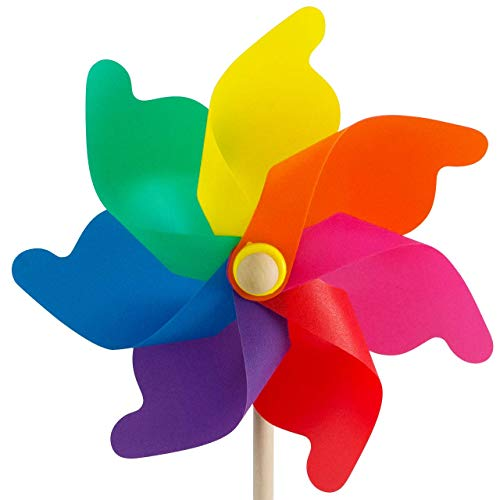 CIM Windspiel - Moulin 31 Rainbow - UV-beständig und wetterfest - Windrad: Ø31cm, Standhöhe: 75cm - fertig aufgebaut inkl. Standstab
