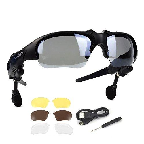 Bluetooth Gafas de Sol con audífonos estéreo inalámbricos Auriculares con 4 Pares de Lentes Manos Libres Reproductor de MP3 Llamada telefónica para los teléfonos Inteligentes Android iOS o PC Tablet