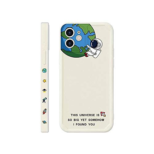 Funda blanda para pareja de astronautas pintada con creatividad de dibujos animados para iPhone 11 12 Pro Max mini 7 8 Plus XR X XS MAX SE 2 fundas de la cubierta del teléfono, A, para 7plus u 8plus