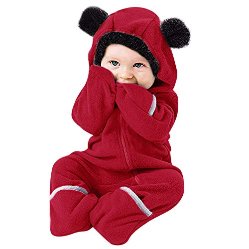 Toodii Baby Girl's and Baby Boy's Cartoon Ears Hoodie Romper Zip Clothes Jumpsuit (Red, 12-18 Months)