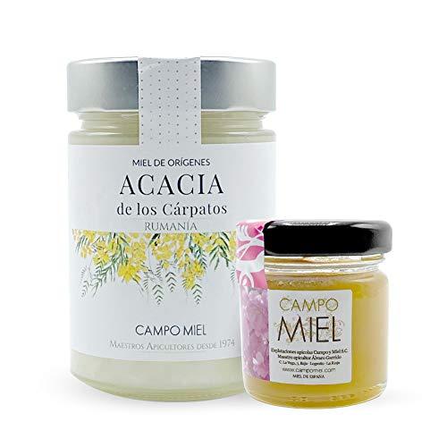 Miel de abeja pura cruda de Acacia | Miel de los Montes Carpatos Rumania Natural, Organica, Fresca y Cruda 390 Gr / Miel cruda 100{3bfb3d5382a987358d2e5dd6e560603f4c4c1fbe716f3f5bbb8e2ed618d06682} natural sin azucares añadidos. Extracción en frio