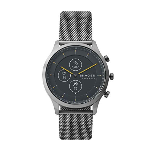 Skagen Men Jorn Hybrid HR - 42mm Stainless Steel Mesh Hybrid HR Smart Watch, Color Gunmetal (Model: SKT3002)