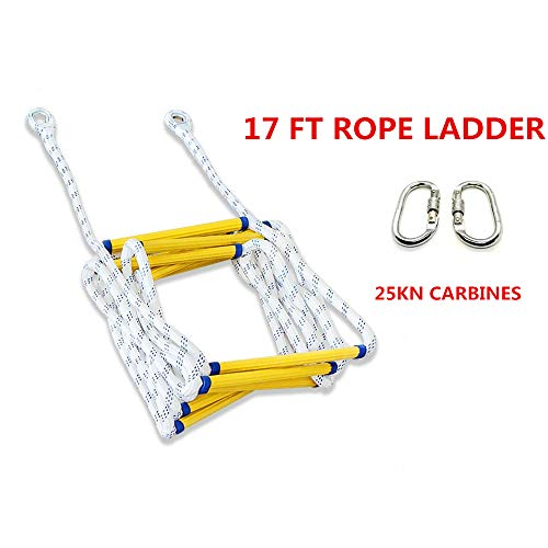 Fantastic Deal! HUAWELL Emergency Fire Escape Rope Ladder with Hooks Carabins-Tree Climbing Harness-...