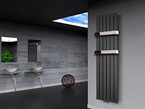 Badheizkörper Design Peking 3, HxB: 180 x 47 cm, 1118 Watt moonstone-grau metallic + 2 Handtuchhalter Hochglanz Edelstahl (Marke: Szagato) Made in Germany/Bad und Wohnraum-Heizkörper (Mittelanschluss)