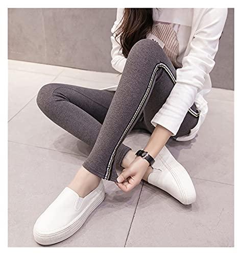 LSTGJ Leggings De Algodón Rayas Laterales Mujeres Casual Leggings De Alto Estiramiento Pantalones Cintura Alta Fitness Jogging (Color : Style1 Dark Gray, Size : 2XL.)