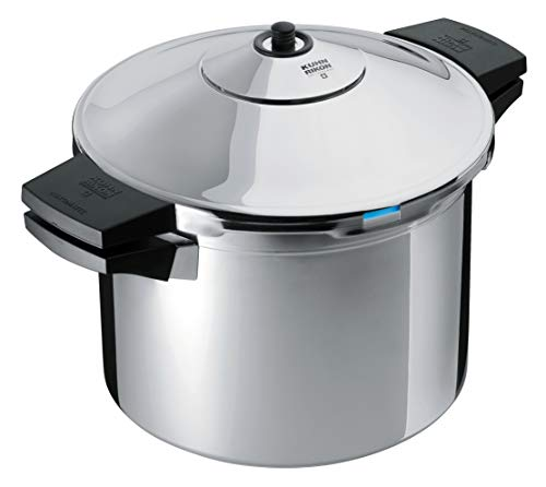"""Kuhn Rikon DUROMATIC Pressure Cooker 8.75"""" 6.3 qt family of 4 with side handles to save space"""