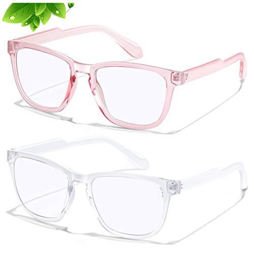 KUGUAOK 2 Pack Blue Light Blocking Glasses for Women Fashion Cat Eye Frame Anti Eye Strain Computer Gaming Eyeglasses Unisex