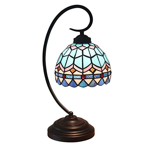 Tiffany Style 8 Inch Mediterranean Table Lamp,Vintage Mediterranean Stained Glass Desk Lamp,Antique Iron Alloy Base Bedside Light Night Lamp for Bedroom Living Room Cafe Bar