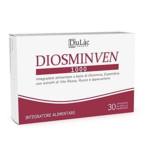Integratore Circolazione Gambe e Microcircolo Dulàc, 30 Compresse per Vene Varicose, Gambe Gonfie e Capillari Rotti Gambe, Diosmina Esperidina 500 mg, Vite rossa e flavonoidi - Diosminven
