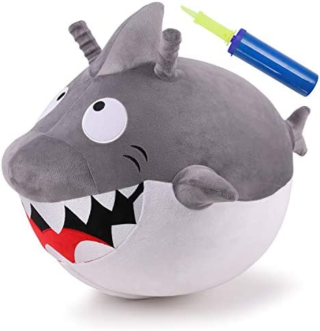 iPlay iLearn Bouncy Pals Kids Shark Hopper Ball Plush Ride On Hopping Animal Toy Indoors Outdoors product image