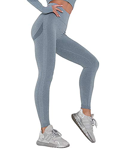 COMFREE Sin Costuras Push Up Booty Leggings Mujer Pantalones Mallas de Deportivos Deporte Scrunch Butt Gym Leggins de Training Fitness Azul M