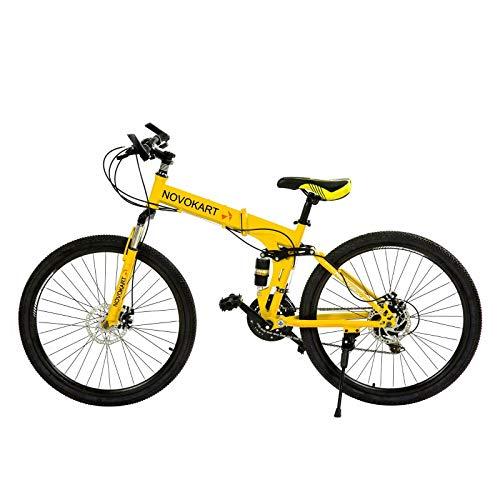 DOMDIL - Vélo de Montagne Pliable pour Hommes et Femmes Adultes, Vélo de Sport de Montagne, VTT avec 24 E'tapes de Changement de Vitesse, 26 Pouces avec Roue à Rayons, Jaune