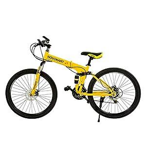 41gpMTjAKkL. SS300 Novokart Bici Pieghevole, Bike Unisex-Adult, Giallo, 24-stage shift