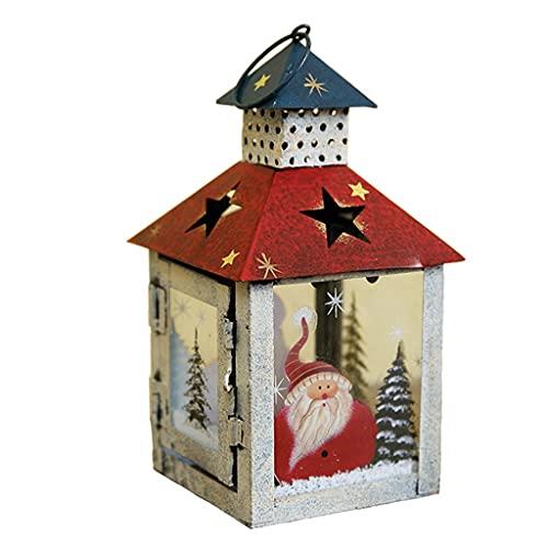 Candelabri Candeliere Lanterna a Vento Natale Lanterna Piccola Decorazione Ornamenti Decorazione Candeliere da Giardino (Color : Red, Size : 19 * 10cm)