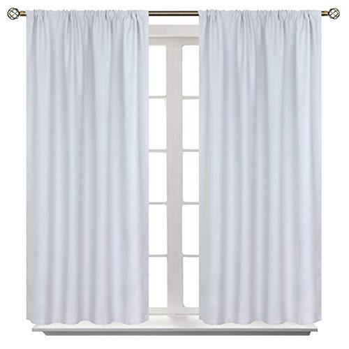 BGment Rod Pocket Blackout Curtains for Bedroom - Thermal Insulated Room Darkening Curtain for Living Room , Greyish White, 42 x 45 Inch, 2 Panels