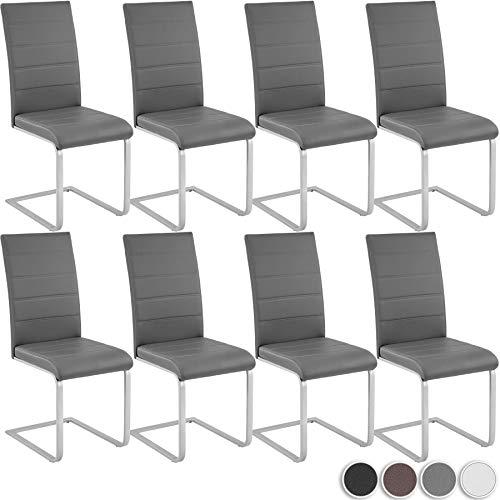 tectake 800883 Ocho sillas de Comedor, Juego de 8 sillas para el salón, Conjunto de Asientos para la Cocina, Set de Muebles de Interior (Gris)