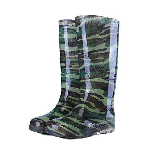 YQQMC - Botas de lluvia para hombre de alto nivel para trabajo al aire libre, botas de lluvia de trabajo y jardín (color: camuflaje, tamaño: 43)