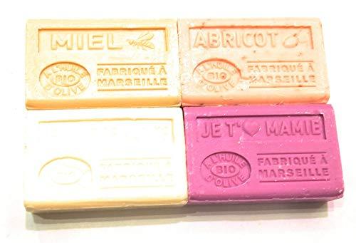 Label Provence - Lot de 4 savons à l'huile d'olive BIO ; Beurre de karité, Miel, Je t'aime Mamie et Abricot. 4x125g