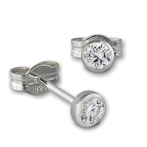 SilberDream Ohrringe 3mm für Damen 925 Silber Ohrstecker Zirkonia weiß SDO5533W ein Angebot von IMPPAC
