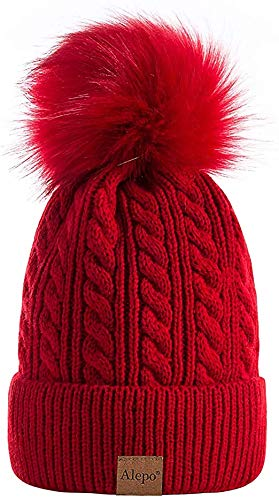 Krystle Girl's & Women Winter Pompom Beanie Hat with Warm Fleece Lined, Thick Slouchy Snow Knit Skull Ski Cap(Red)