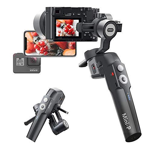 MOZA Mini-P Estabilizador de cardán de 3 ejes compatible con teléfonos inteligentes, cámaras sin espejo, cámaras de acción con una carga útil máxima de 1.98 libras